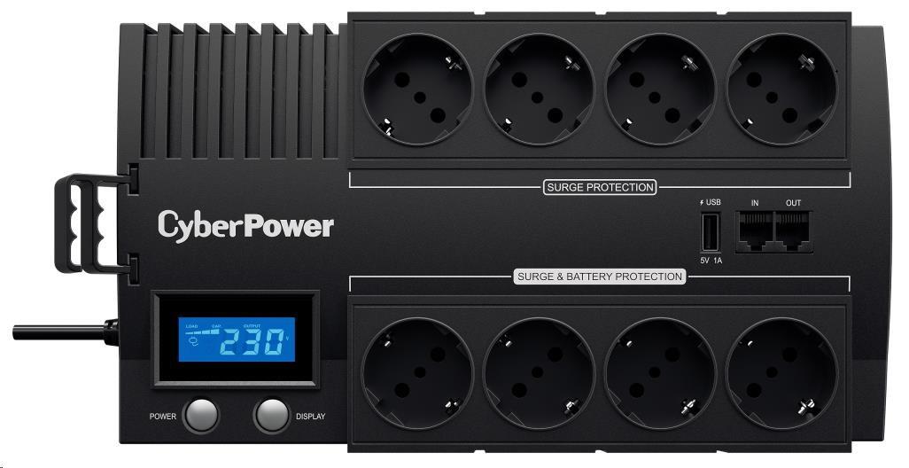 CyberPower BRICs Series II SOHO LCD UPS 700VA/420W, German SHUKO zásuvky