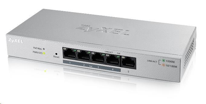 Zyxel GS1200-5HPv2 5-port Desktop Gigabit Web Smart PoE switch, 4x PoE+ GbE, PoE 60W, fanless