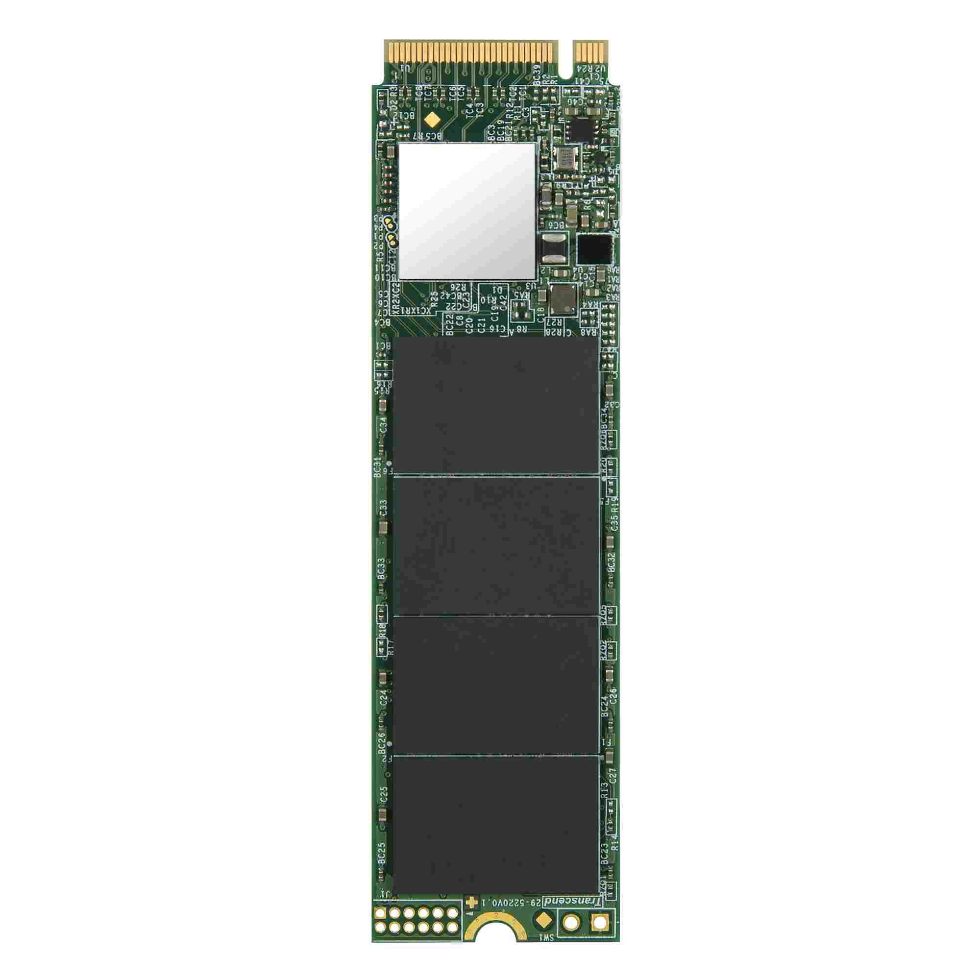 TRANSCEND M.2 SSD 110S, 256GB, M.2 2280, PCIe Gen3x4, 3D TLC, DRAM-less