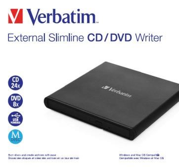 VERBATIM externí mechanika Slimline CD/DVD Writer - without NERO