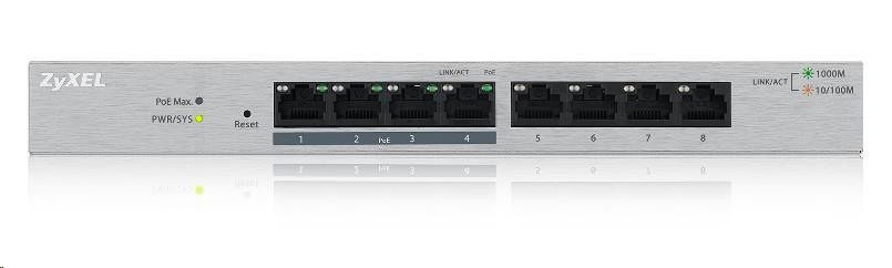 Zyxel GS1200-8HP 8-port Desktop Gigabit Web Smart switch, 4x PoE 802.3at, PoE budget 60W, fanless