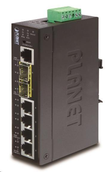 Planet switch IGS-5225-4T2S, průmyslový 4x10/100/1000T, 2x100/1000X SFP, -40~+75°C