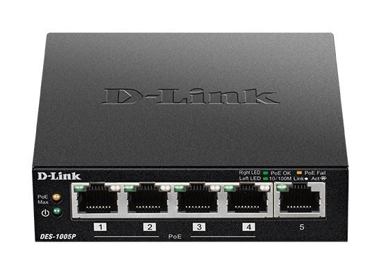 D-Link DES-1005P B1 5-Port 10/100 PoE Desktop Switch, 4x PoE+, 60W pro PoE