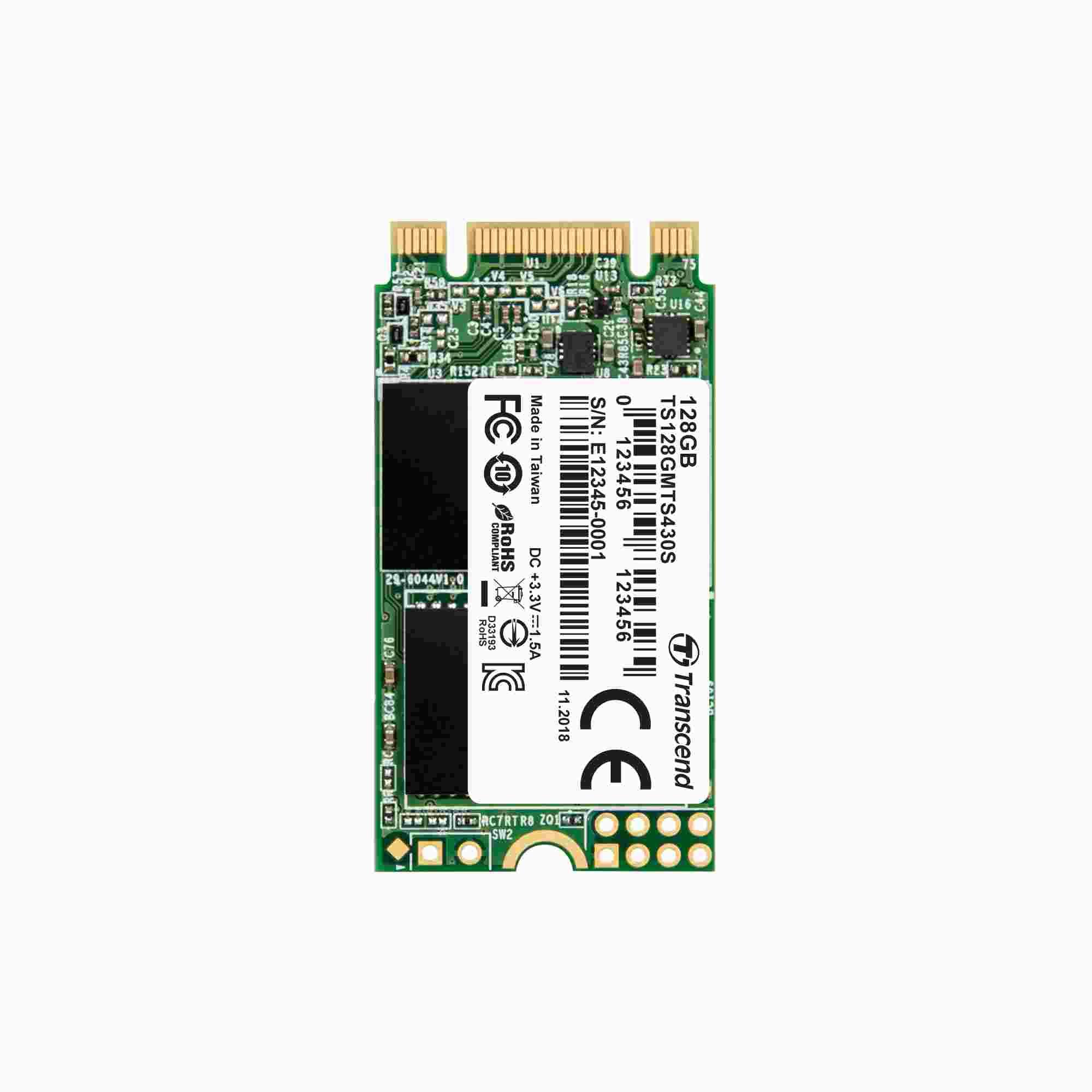TRANSCEND Industrial SSD MTS430S 128GB, M.2 2242, SATA III 6Gb/s, TLC