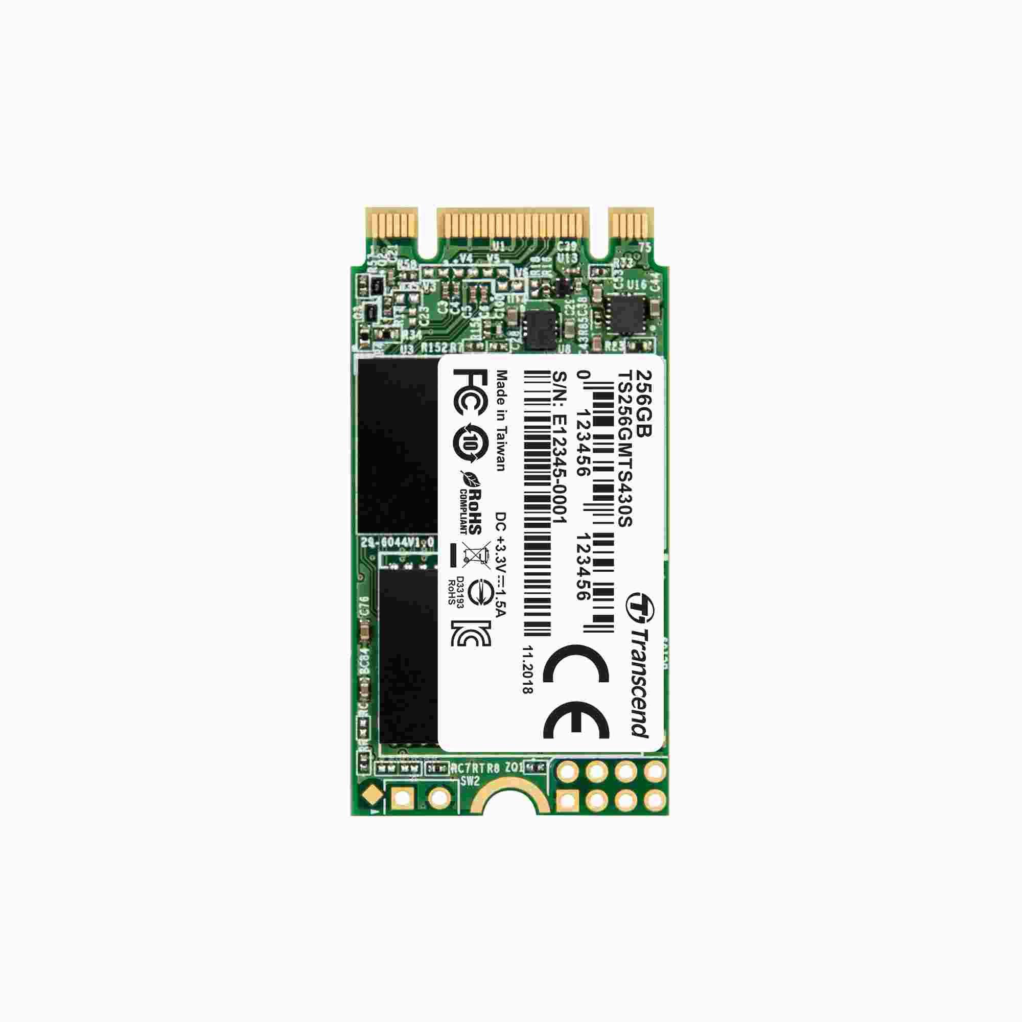 TRANSCEND Industrial SSD MTS430S 256GB, M.2 2242, SATA III 6Gb/s, TLC