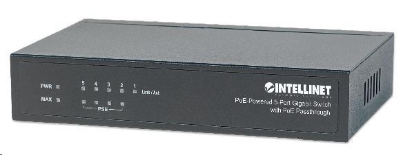 Intellinet 5-Port gigabit PoE+ Switch, 4x PoE port, 68W PoE budget, možnost napájet přes port 1 (PoE PD)