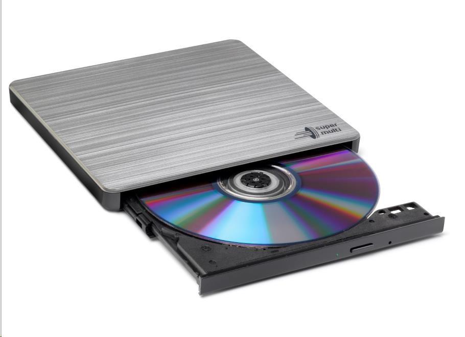 HITACHI LG - externí mechanika DVD-W/CD-RW/DVD?R/?RW/RAM GP60NS60, Slim, Silver, box+SW