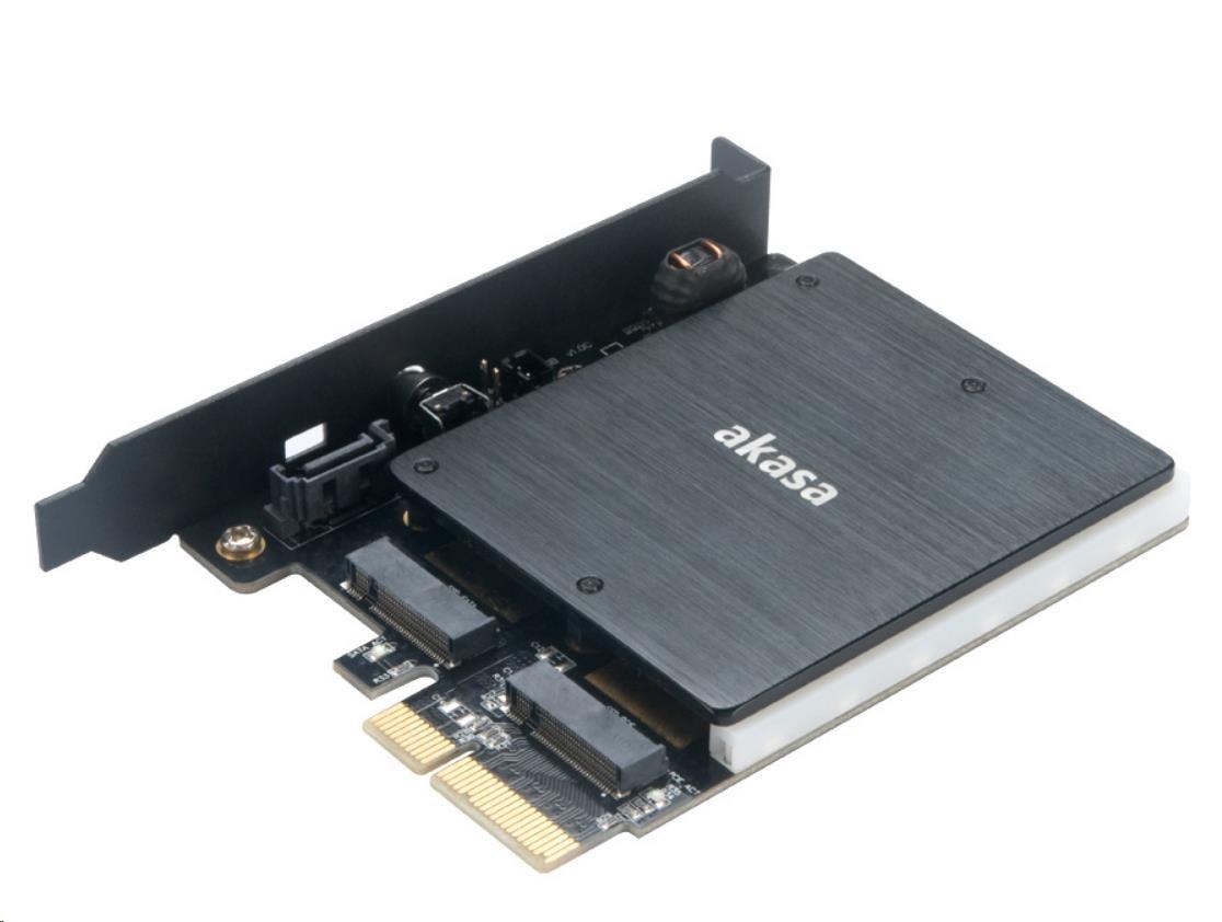 AKASA Adaptér pro M.2 PCIe a M.2 SATA s RGB LED a chladičem