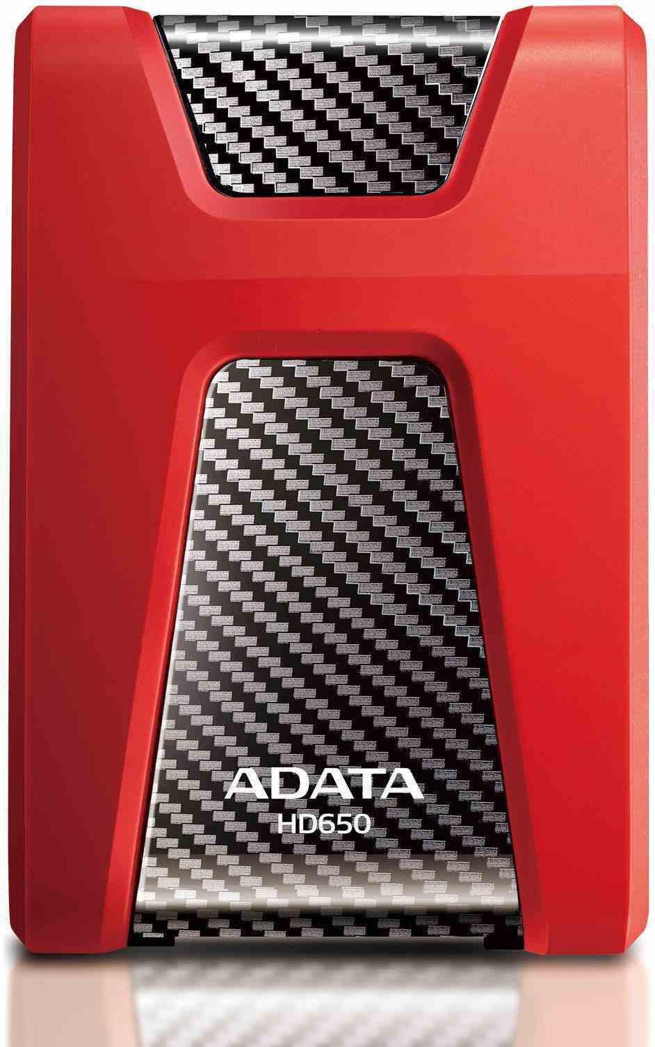 """ADATA Externí HDD 1TB 2,5"""" USB 3.1 DashDrive Durable HD650, červený (gumový, nárazu odolný)"""