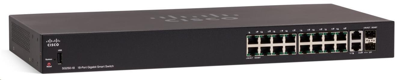 Cisco switch SG250-18-RF, 16x10/100/1000, 2xGbE SFP/RJ-45, REFRESH