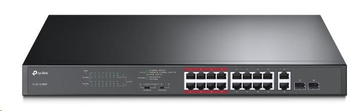 TP-Link TL-SL1218MP - 16-portový switch 10/100Mb/s + 2xSFP, PoE (802.af/at, max. 194W)