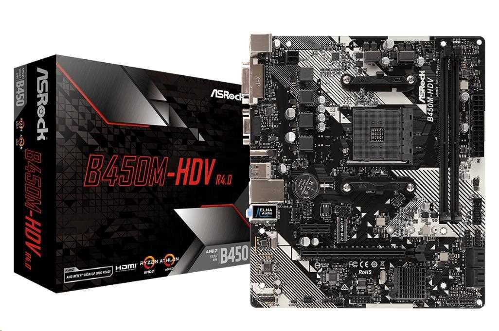 ASRock MB Sc AM4 B450M-HDV R4.0, AMD B450, 2xDDR4, VGA, mATX