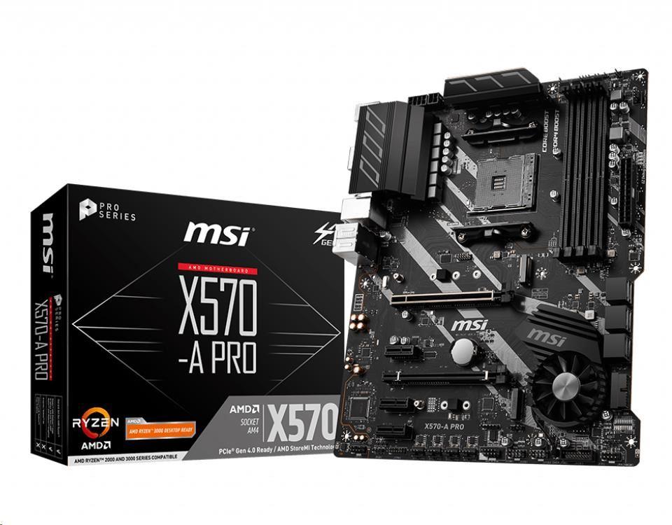 MSI MB Sc AM4 X570-A PRO, AMD X570, 4x DDR4, VGA