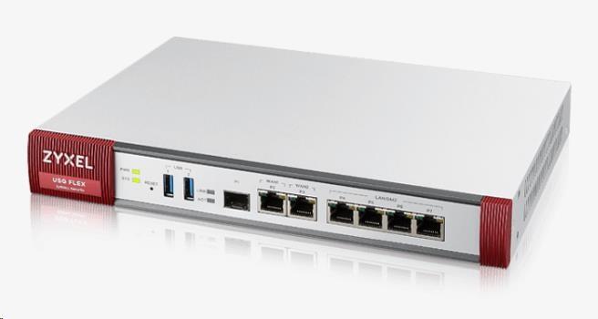 Zyxel USGFLEX200 firewall with 1-year UTM bundle, 2x gigabit WAN, 4x gigabit LAN/DMZ, 1x SFP, 2x USB