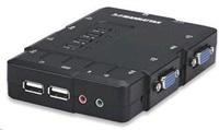 MANHATTAN KVM přepínač 4 porty, USB, audio, integrované kabely