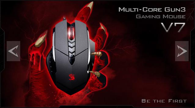 A4tech BLOODY V7 herní myš, až 3200DPI, V-Track technologie, 160KB paměť, USB, CORE 2, kovové podložky