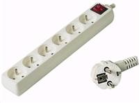 PREMIUMCORD Prodlužovací přívod 230V 3m, 6 zásuvek + vypínač, bílá