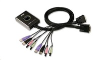 ATEN přepínač KVM 2-port DVI KVMP USB2.0, mini, audio, 1.2m kabely