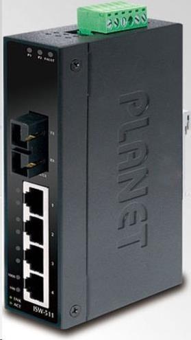 Planet ISW-511, 4x 10/100Base-TX+ 1x 100FX 2km, MM, DIN, IP30