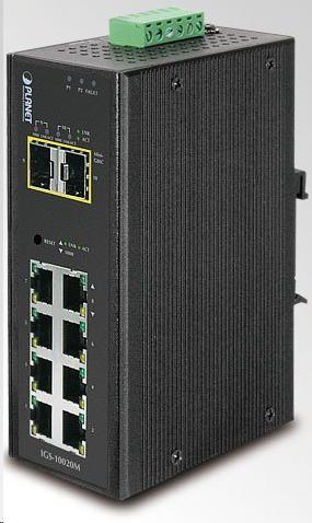 Planet IGS-10020MT, 8X 1000BASE-T, 2X SFP, DIN, IP30, -40 AŽ 75°C, WEB/SNMPV3, VLAN, IGMPV3, ESD+EFT, IPV6