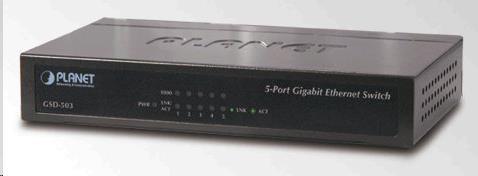 Planet switch GSD-503 5x10/100/1000BASE-T, EUP, 802.3AZ, kov