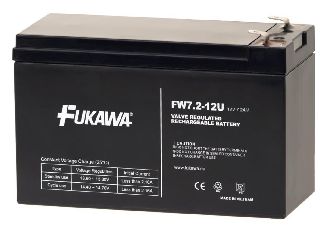 Baterie - FUKAWA FW 7,2-12 F2U (12V/7,2 Ah - Faston 250) SLA baterie, konektor - 6.3mm, životnost 5let