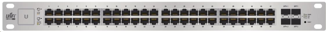 UBNT UniFi Switch US-48-500W [48xGigabit, 500W PoE+ 802.3at/af, pasivní PoE 24V, 2xSFP + 2xSFP+, non-blocking 70Gbps]