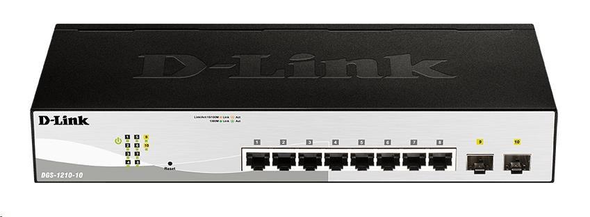 D-Link DGS-1210-10 10-Port Gigabit Smart+ Switch, 8x GbE, 2x SFP, fanless
