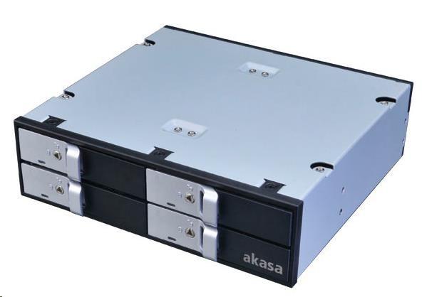"AKASA HDD box Lokstor M22, 4x 2,5"" SATA HDD/SSD do 5,25"" interní pozice, černý"