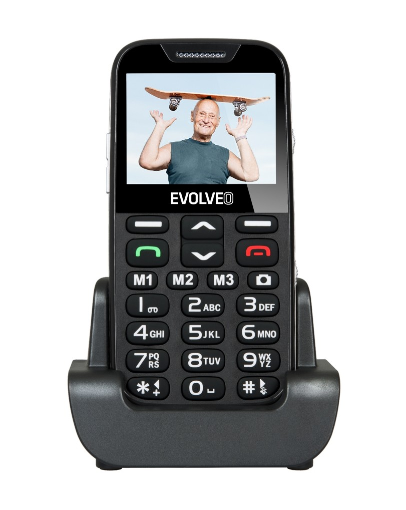 EVOLVEO EasyPhone XD, mobilní telefon pro seniory s nabíjecím stojánkem (černá barva)