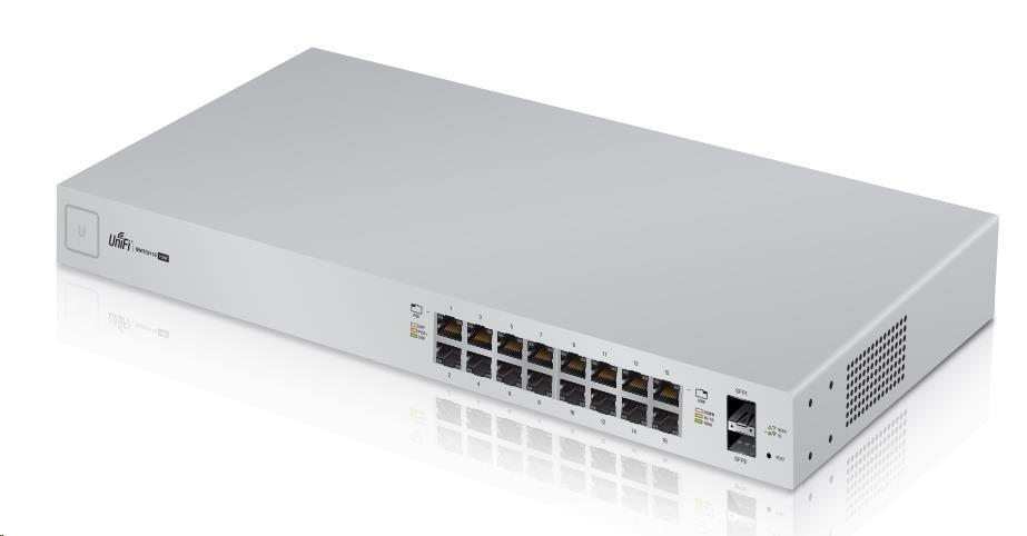 UBNT UniFi Switch US-16-150W [16xGigabit, 150W PoE+ 802.3at/af, pasivní PoE 24V, 2xSFP slot, non-blocking 18Gbps]