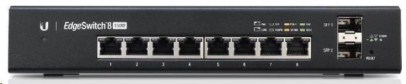 UBNT EdgeSwitch ES-8-150W [8xGigabit, 150W PoE+ 802.3at/af, pasivní PoE 24V, 2xSFP slot, non-blocking 10Gbps]