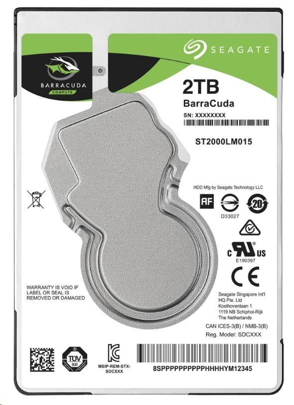 "SEAGATE HDD BARRACUDA 2.5"" 2TB, SATAIII/600 5400RPM, 128MB cache, 7mm"