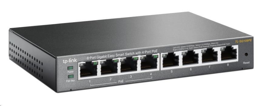 TP-Link TL-SG108PE 8x Gigabit Desktop Switch, 4x PoE 802.3af 55W