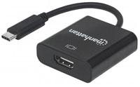MANHATTAN převodník z USB 3.1 na HDMI (Type-C Male to HDMI Female, Black) PC / Apple MacBook