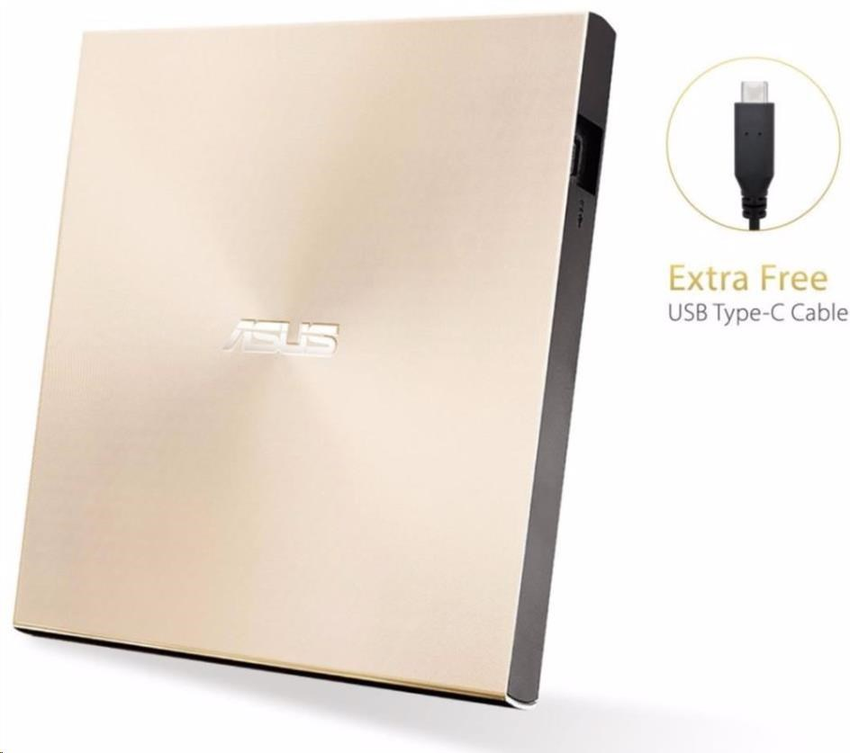 ASUS DVD ZenDrive SDRW-08U9M-U GOLD, External Slim DVD-RW, USB Type-C/Type-A, M-DISC