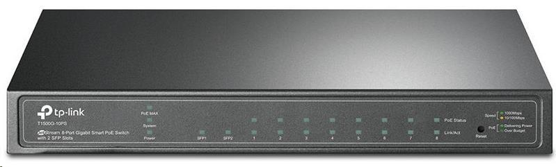 TP-Link T1500G-10PS PoE switch, 8x GLAN + 2x SFP, 802.3af, 53W budget
