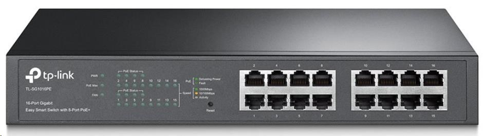 TP-Link TL-SG1016PE PoE switch, 16x GLAN (8x PoE), 802.3af/at, 110W budget