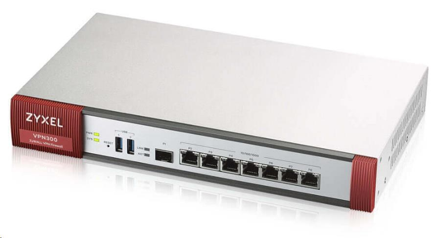 Zyxel VPN300 Advanced VPN Firewall, 300x VPN (IPSec/L2TP), 7x WAN/LAN/DMZ, 1x SFP, Wireless Controller