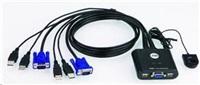 ATEN 2-port KVM USB mini, 1m kabely, DO