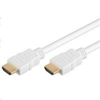 PremiumCord HDMI High Speed + Ethernet kabel,bílý, zlacené konektory, 2m