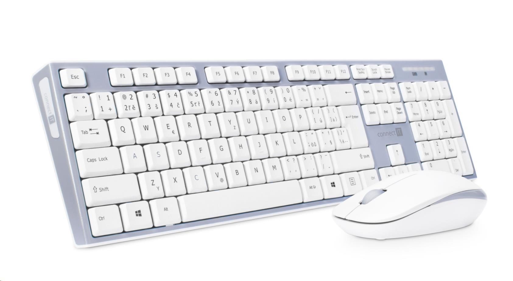b2c140592 CONNECT IT Combo bezdrátová šedá klávesnice + myš, CZ + SK layout empty